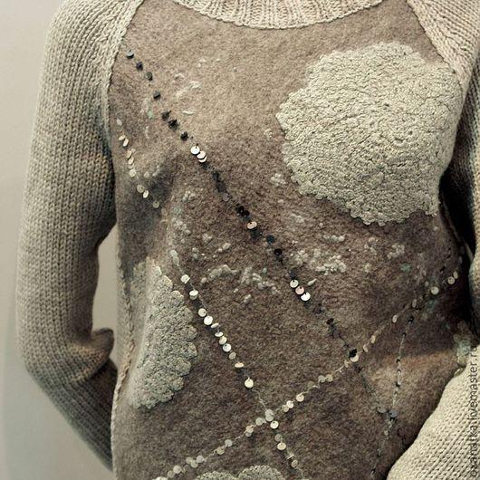 Кофты и свитера ручной работы. Ярмарка Мастеров - ручная работа. Купить Валяный свитер Grаy Lace. Handmade. Серый