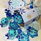 """Подарки к праздникам ручной работы. Ярмарка Мастеров - ручная работа Набор елочных игрушек """"Индиго"""", 11 предметов. Handmade."""