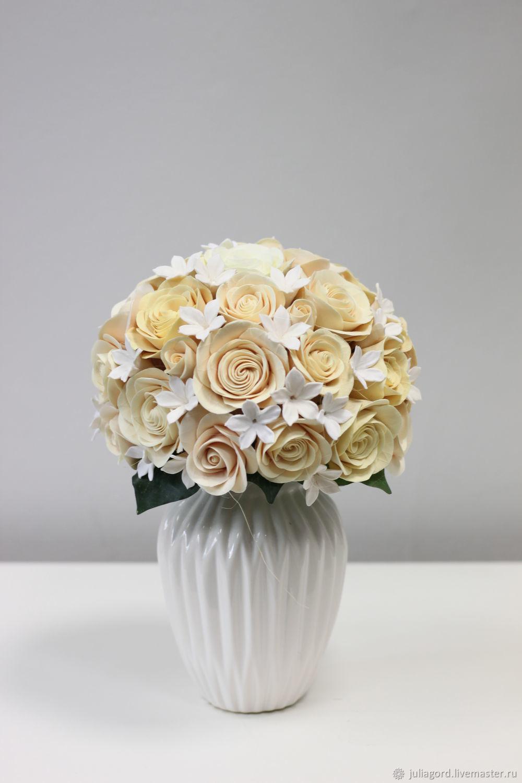 Интерьерные композиции ручной работы. Ярмарка Мастеров - ручная работа. Купить Интерьерная композиция с кремовыми розами. Handmade. Роза, розы