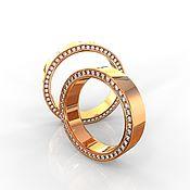 Свадебный салон handmade. Livemaster - original item Paired wedding rings with stones, Men`s and women`s gold (Ob4). Handmade.