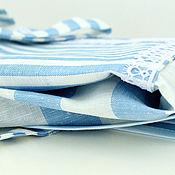 """Для дома и интерьера ручной работы. Ярмарка Мастеров - ручная работа Льняной фартук передник для кухни""""Прованс""""в бело-голубую полоску. Handmade."""
