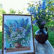 """Картины и панно ручной работы. Ярмарка Мастеров - ручная работа """"Июльский букет"""". Handmade."""