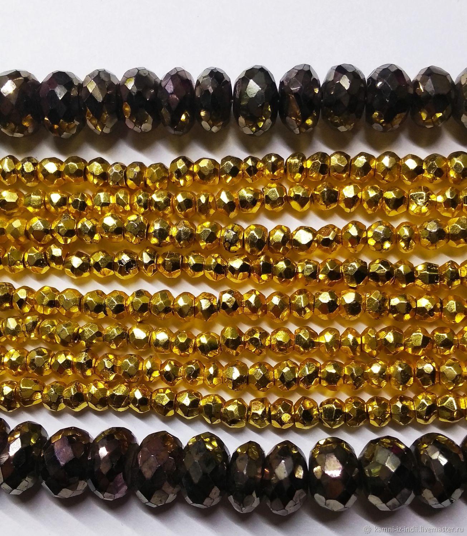Пирит Gold (10 шт) и Black copper бусины рондели, Бусины, Москва, Фото №1