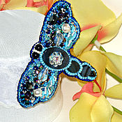 Украшения handmade. Livemaster - original item Stone and bead dragonfly brooch. Handmade.
