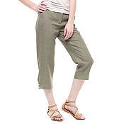 Брюки ручной работы. Ярмарка Мастеров - ручная работа Льняный брюки-капри цвета хаки. Handmade.