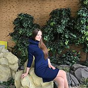 Одежда ручной работы. Ярмарка Мастеров - ручная работа Зимнее платье синее. Handmade.