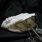 """Плетеная женская сумка """"Биение сердец"""", белая"""