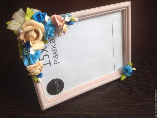 Фоторамки ручной работы. Ярмарка Мастеров - ручная работа. Купить Рамки для фото с цветами из холодного фарфора. Handmade. Фиолетовый, дерево