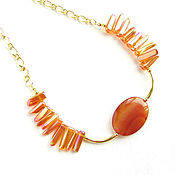 Украшения handmade. Livemaster - original item Orange necklace with quartz