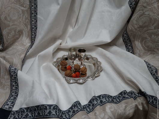 Текстиль, ковры ручной работы. Ярмарка Мастеров - ручная работа. Купить Скатерть льняная жаккардовая Фреска. Handmade. Белый