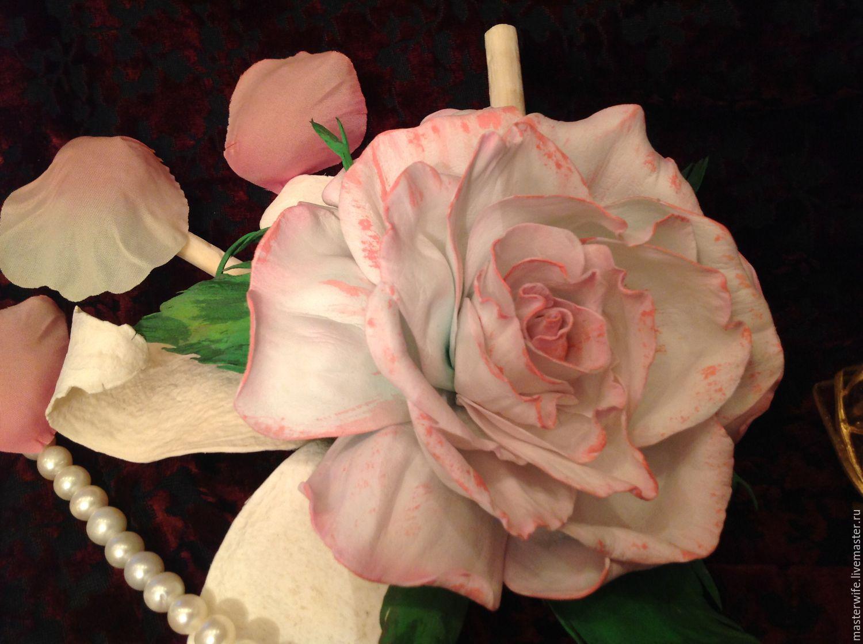 """Броши ручной работы. Ярмарка Мастеров - ручная работа. Купить Брошь """"Нежная  роза"""". Handmade. Белый, брошь-цветок, на пояс"""
