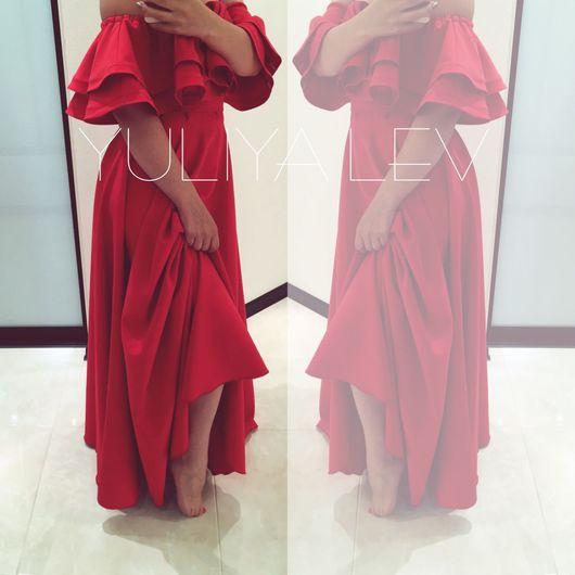 Платья ручной работы. Ярмарка Мастеров - ручная работа. Купить Платье в пол  с воланами YULIYA lev. Handmade. Вечернее платье