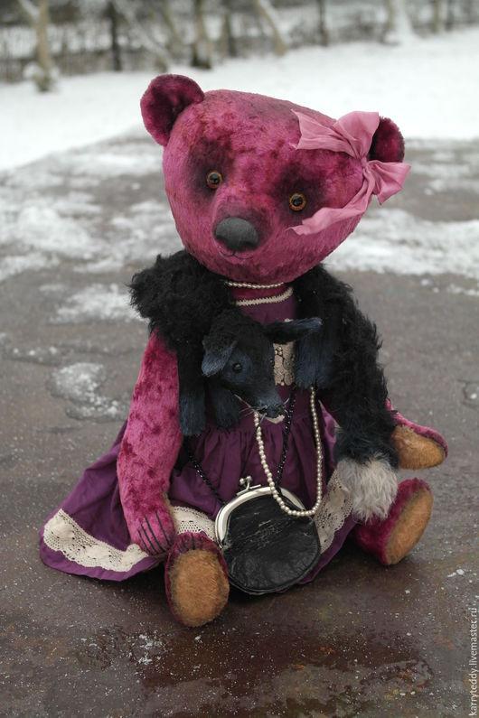 """Мишки Тедди ручной работы. Ярмарка Мастеров - ручная работа. Купить Медведь Тедди. """"Коко с горжеткой""""). Handmade. Фуксия"""