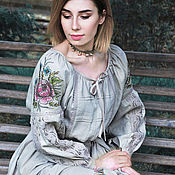 Одежда handmade. Livemaster - original item Long linen dress with hand painted and embroidery