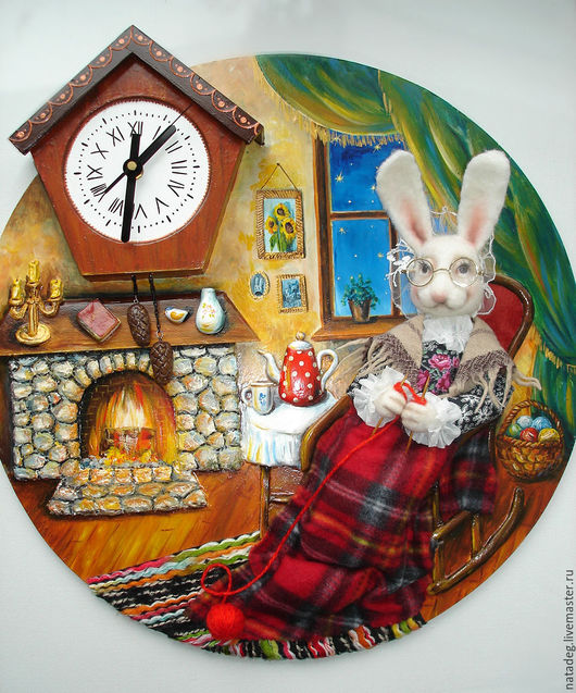 """Часы для дома ручной работы. Ярмарка Мастеров - ручная работа. Купить Часы настенные  """"У камина"""". Handmade. Часы настенные"""