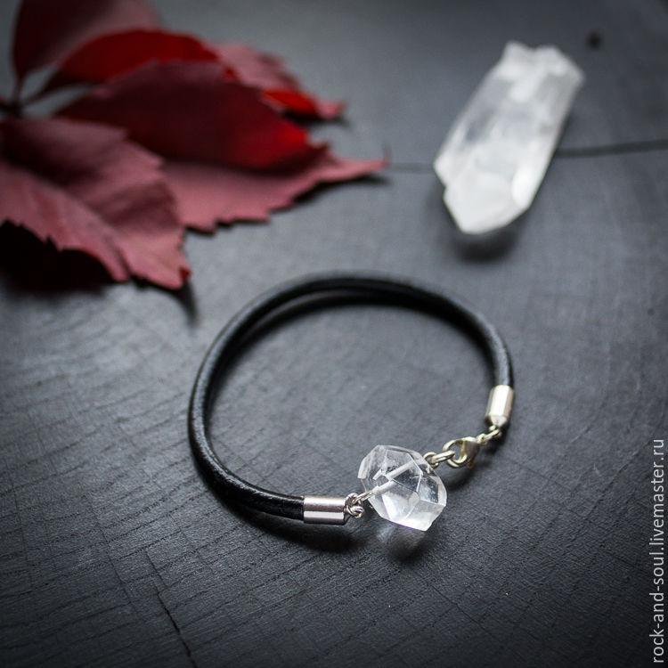 a03e1ff1030fa Bracelet with rock crystal, quartz, leather bracelet, minimalist