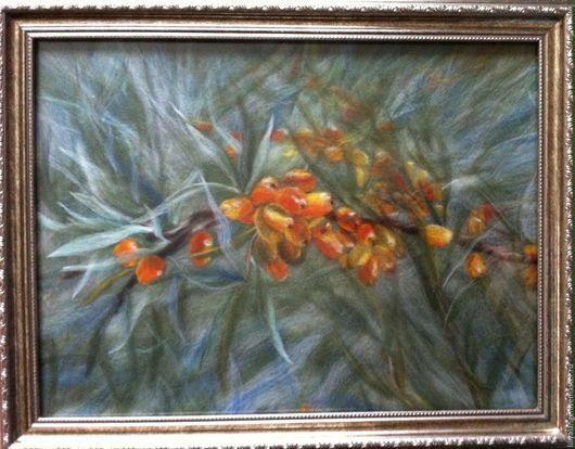"""Пейзаж ручной работы. Ярмарка Мастеров - ручная работа. Купить картина из шерсти """"облепиха"""". Handmade. Оливковый, картина для интерьера, голубой"""