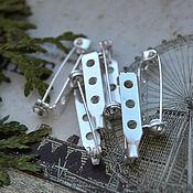 Материалы для творчества handmade. Livemaster - original item Basis for brooches 27h5h7 mm Silver. Handmade.