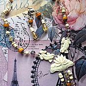 """Украшения ручной работы. Ярмарка Мастеров - ручная работа Колье и серьги """" Утренняя роса"""" Кость,флюорит,тибетский янтарь.. Handmade."""