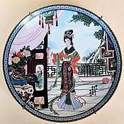 Винтаж handmade. Livemaster - original item Collectible plate Lady on the terrace Jingdezhen China 1986. Handmade.