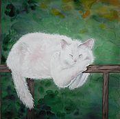 Картины и панно ручной работы. Ярмарка Мастеров - ручная работа Картина акварель. Белый кот. Устал. Отдыхаю. Handmade.