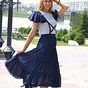 Одежда ручной работы. Ярмарка Мастеров - ручная работа Шифоновая юбка-сарафан Голубка. Handmade.