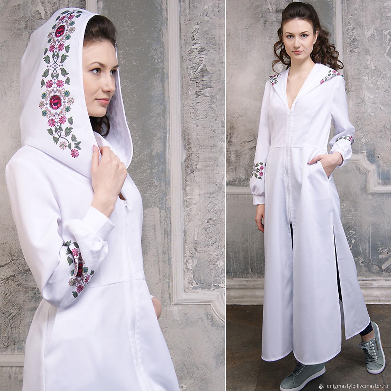Платье с капюшоном и орнаментом, белый длинный женский балахон бохо, Платья, Новосибирск,  Фото №1