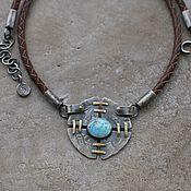 handmade. Livemaster - original item Neck decoration with turquoise, silver and brass. Handmade.
