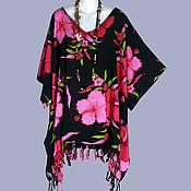 Одежда ручной работы. Ярмарка Мастеров - ручная работа Туника платье пончо бохо батик, цветы на черном, свободный летний. Handmade.