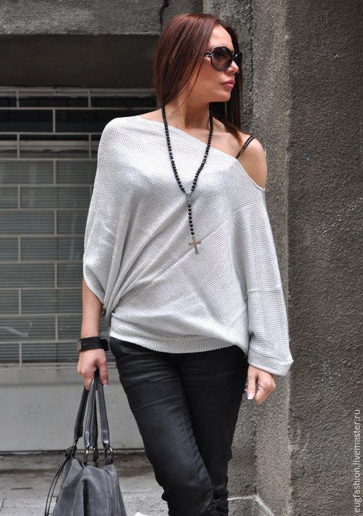 Блузка серебрянного цвета. Блузка из хлопка. Блуза ручной работы.