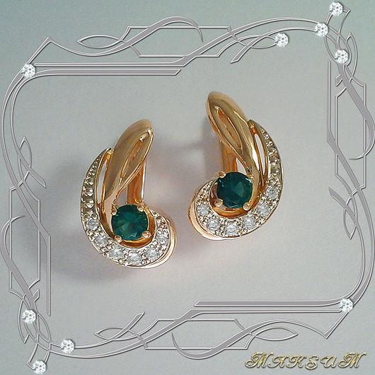 Earrings 'Stylish comma' gold 585, emeralds hydrothermal, cubic Zirconia, Earrings, St. Petersburg,  Фото №1