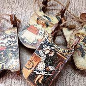 Подарки к праздникам ручной работы. Ярмарка Мастеров - ручная работа Саночки новогодние деревянные Ретро. Handmade.