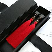 Украшения handmade. Livemaster - original item Red scarlet tassels earrings