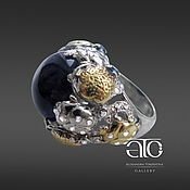 Украшения handmade. Livemaster - original item Ring with amethyst and CZ. 925 sterling silver, gilding 24K. Handmade.