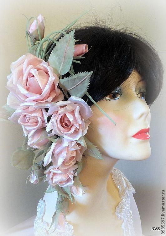 Диадемы, обручи ручной работы. Ярмарка Мастеров - ручная работа. Купить Диадема из роз.Цветы из ткани. Handmade. Диадема