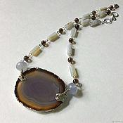 Украшения handmade. Livemaster - original item Necklace with slice of agate, chalcedony and Topaz. Handmade.