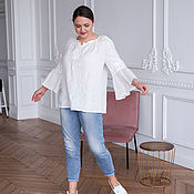 Одежда handmade. Livemaster - original item Linen blouse with lace and lacing white. Handmade.