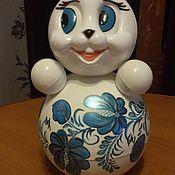 """Куклы и игрушки ручной работы. Ярмарка Мастеров - ручная работа Неваляшка """"Заяц"""" с росписью. Handmade."""