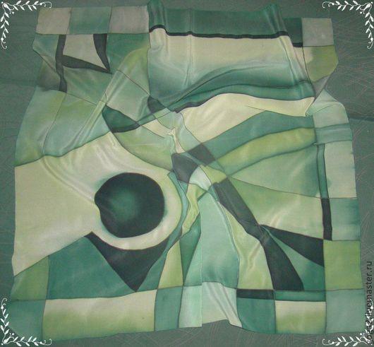 """Шали, палантины ручной работы. Ярмарка Мастеров - ручная работа. Купить Шелковый платок """"Геометрия"""" батик. Handmade. Шелковый платок"""