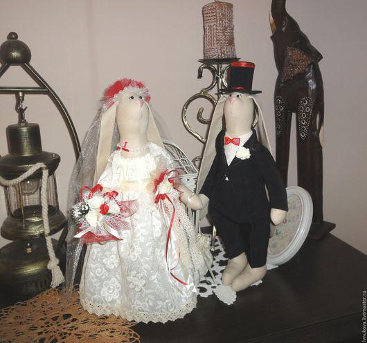 Куклы Тильды ручной работы. Ярмарка Мастеров - ручная работа. Купить Свадебные зайцы. Handmade. Бежевый, интерьерная композиция, фатин