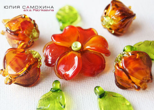 All for Jewelry Making handmade. Livemaster - handmade. Buy Set of beads-lampwork 'Red'.Yulia samokhina