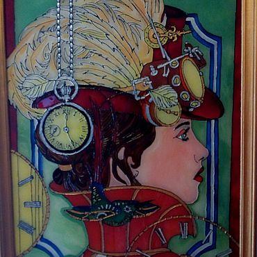 Для дома и интерьера ручной работы. Ярмарка Мастеров - ручная работа Витражи: Мадам время. Handmade.