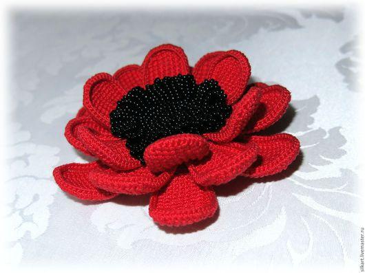 """Броши ручной работы. Ярмарка Мастеров - ручная работа. Купить Брошь """"Кармен"""" , вязаный цветок. Handmade. Ярко-красный"""