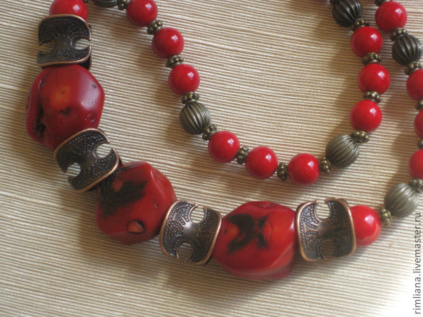 Coral beads 'Gift of the Sun God - Amun'. Egypt, Necklace, Moscow,  Фото №1