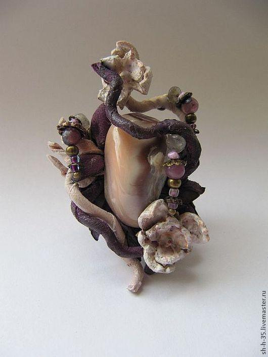 """Кольца ручной работы. Ярмарка Мастеров - ручная работа. Купить Кольцо """"Ароматы рассвета"""". Handmade. Кольцо из кожи, розовая яшма"""