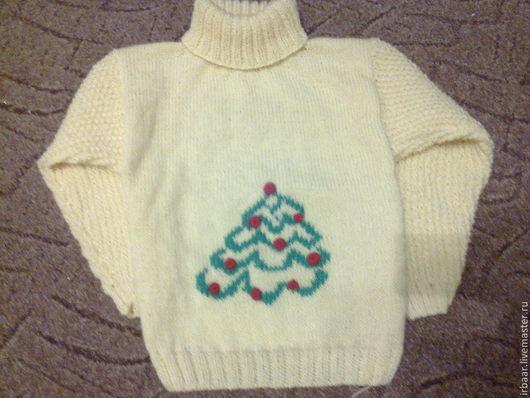 """Для подростков, ручной работы. Ярмарка Мастеров - ручная работа. Купить Детский джемпер""""Елочка"""". Handmade. Белый, вязанный свитер"""