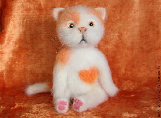 Игрушки животные, ручной работы. Ярмарка Мастеров - ручная работа. Купить Валяный кот Апельсинка. Handmade. Валяный кот, подарок