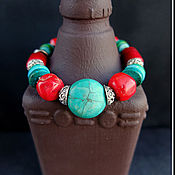 """Украшения ручной работы. Ярмарка Мастеров - ручная работа Браслет """"Путь в Тибет"""" - коралл, турквенит. Handmade."""