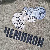 Одежда ручной работы. Ярмарка Мастеров - ручная работа Микрохлопок. Оливковый именной халат. Машинная вышивк. Handmade.