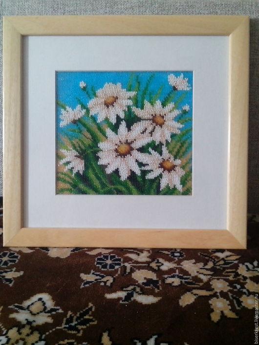 Картины цветов ручной работы. Ярмарка Мастеров - ручная работа. Купить Летнее поле. Handmade. Комбинированный, ромашки, бисер